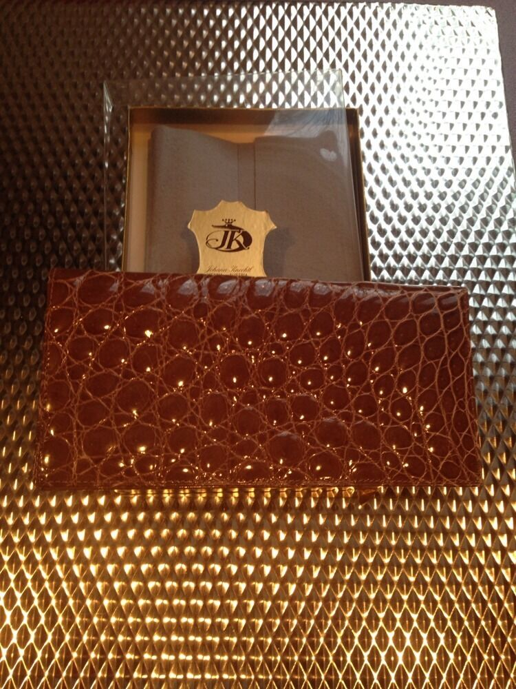 JOHANN KNECHTL GENUINE ALL BABY CROCO BELLY LONG WALLET NEW NEVER USED VERY RARE