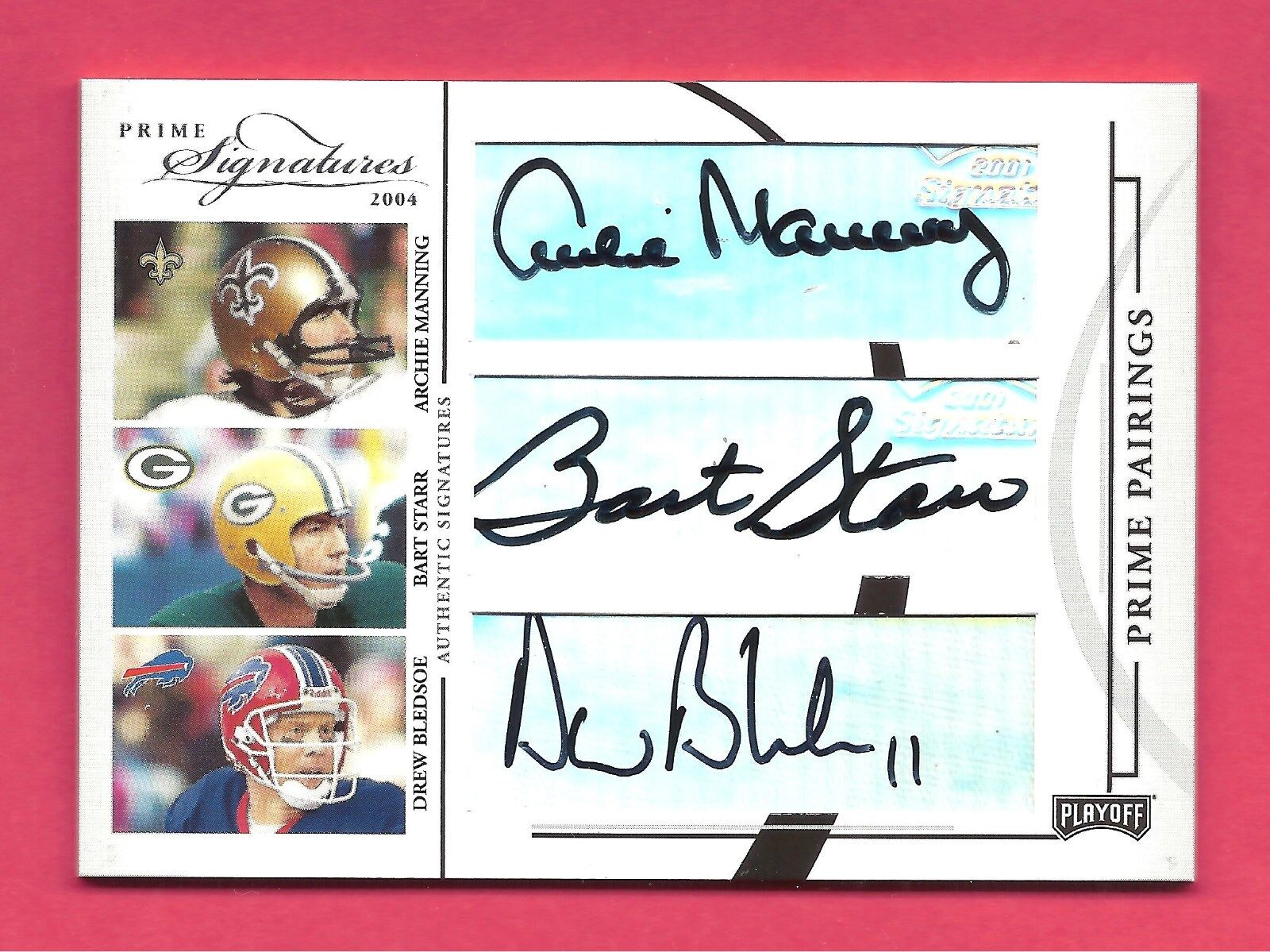 Starr/Baugh/Aikman/Manning/Cunningham/Beldsoe 2004 Playoff Prime Signautues /33