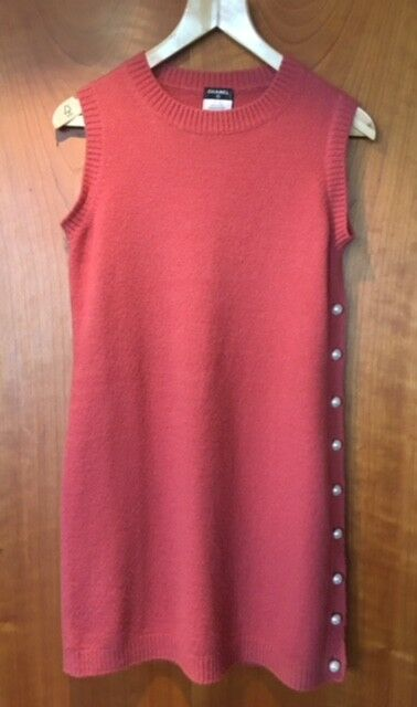 AUTHENTIC CHANEL PEARL BUTTON CASHMERE KNITTED DRESS  â€