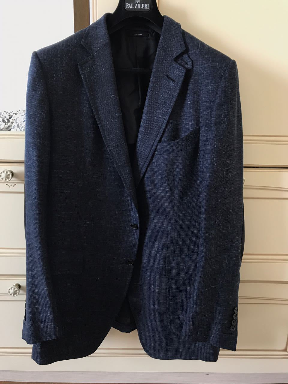 TOM FORD BLUE WOOL BLEND JACKET WITH SUEDE ELBOW PATCES SIZE 56L US TFR10