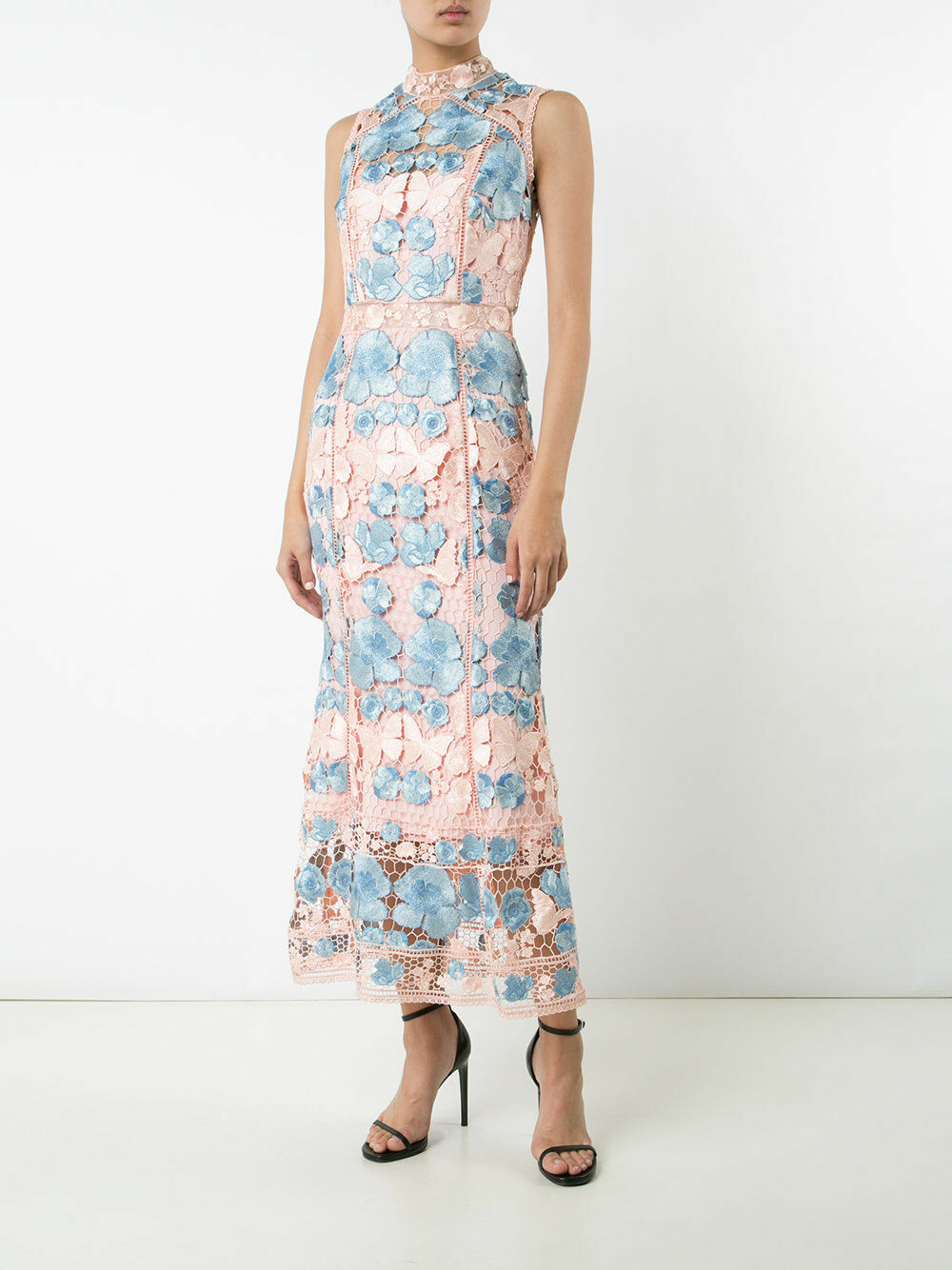 Marchesa Notte Floral Dress Guipure Lace Gown Blush Blue Embroidered  $1295 Sz.2