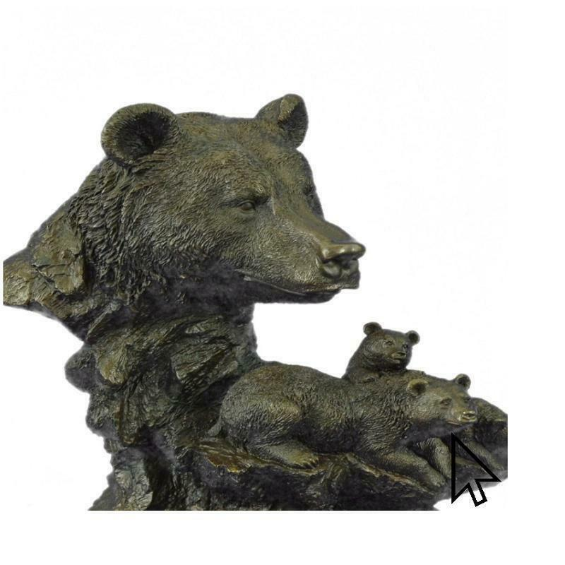 Hand Made Art Deco Black Bear Mother Bronze Marble Sculpture Hot Cast Gift CB