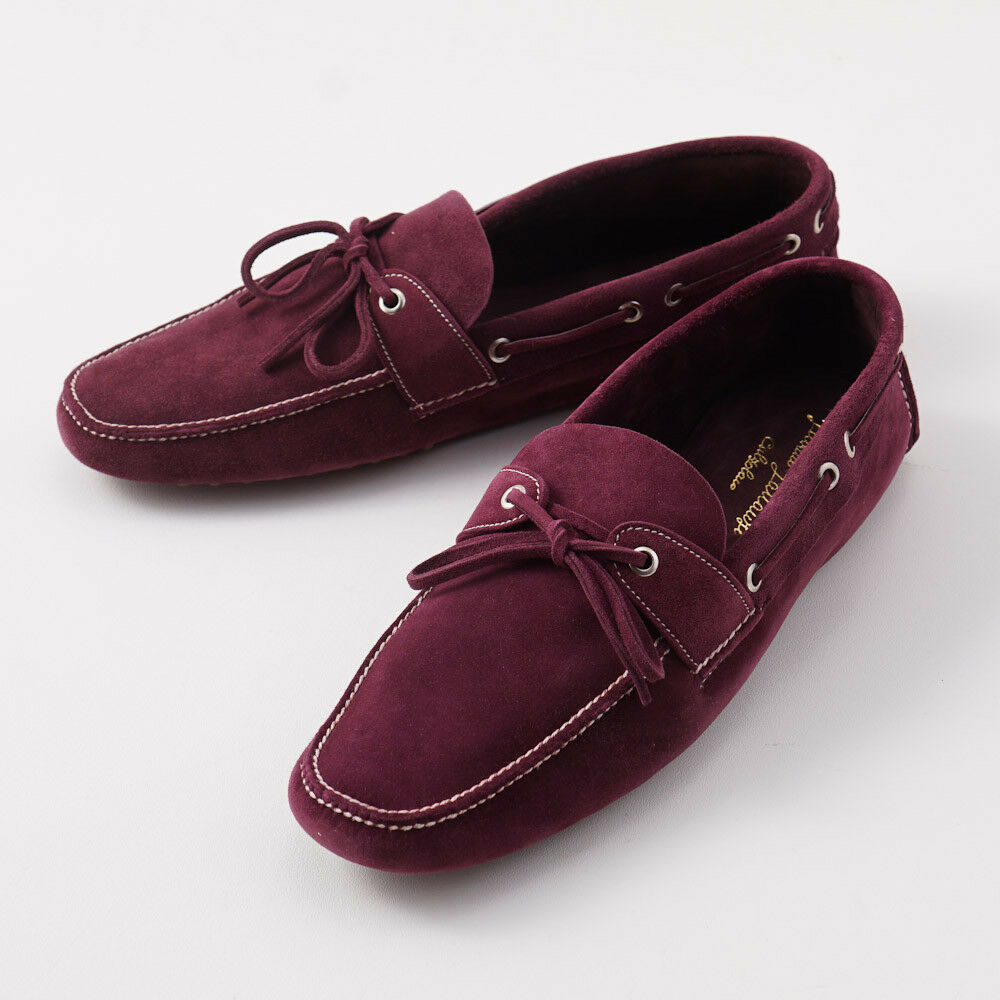NIB $2300 SILVANO LATTANZI Purple Suede Driving Moccasins US 11 Loafers Shoes
