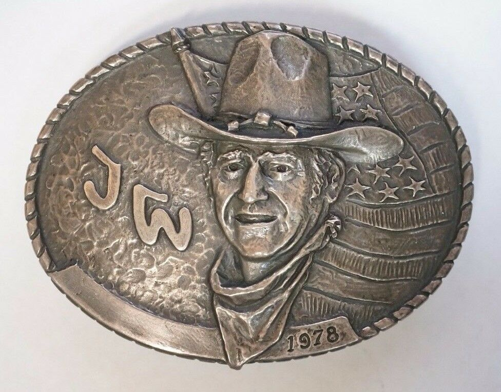 1978 John Wayne JW Solid Sterling Silver Hand Crafted Belt Buckle #308