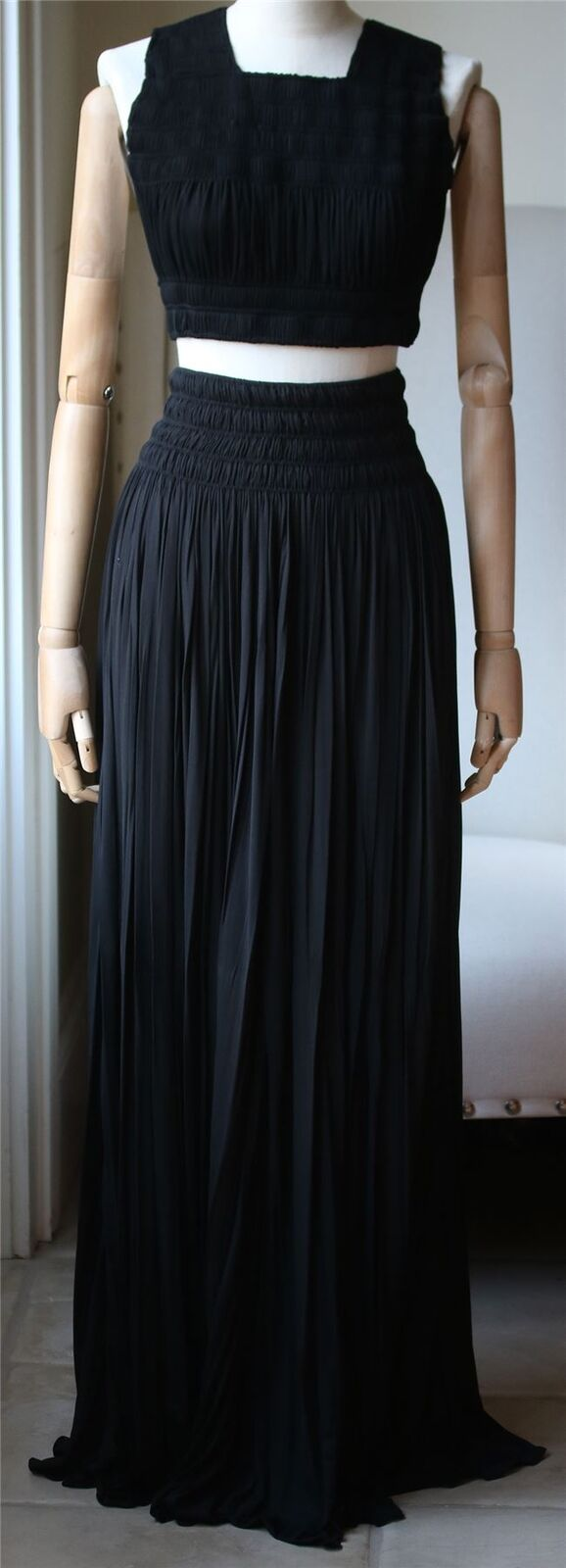 AZZEDINE ALAIA RUCHED PLEATED TOP AND SKIRT UK 8