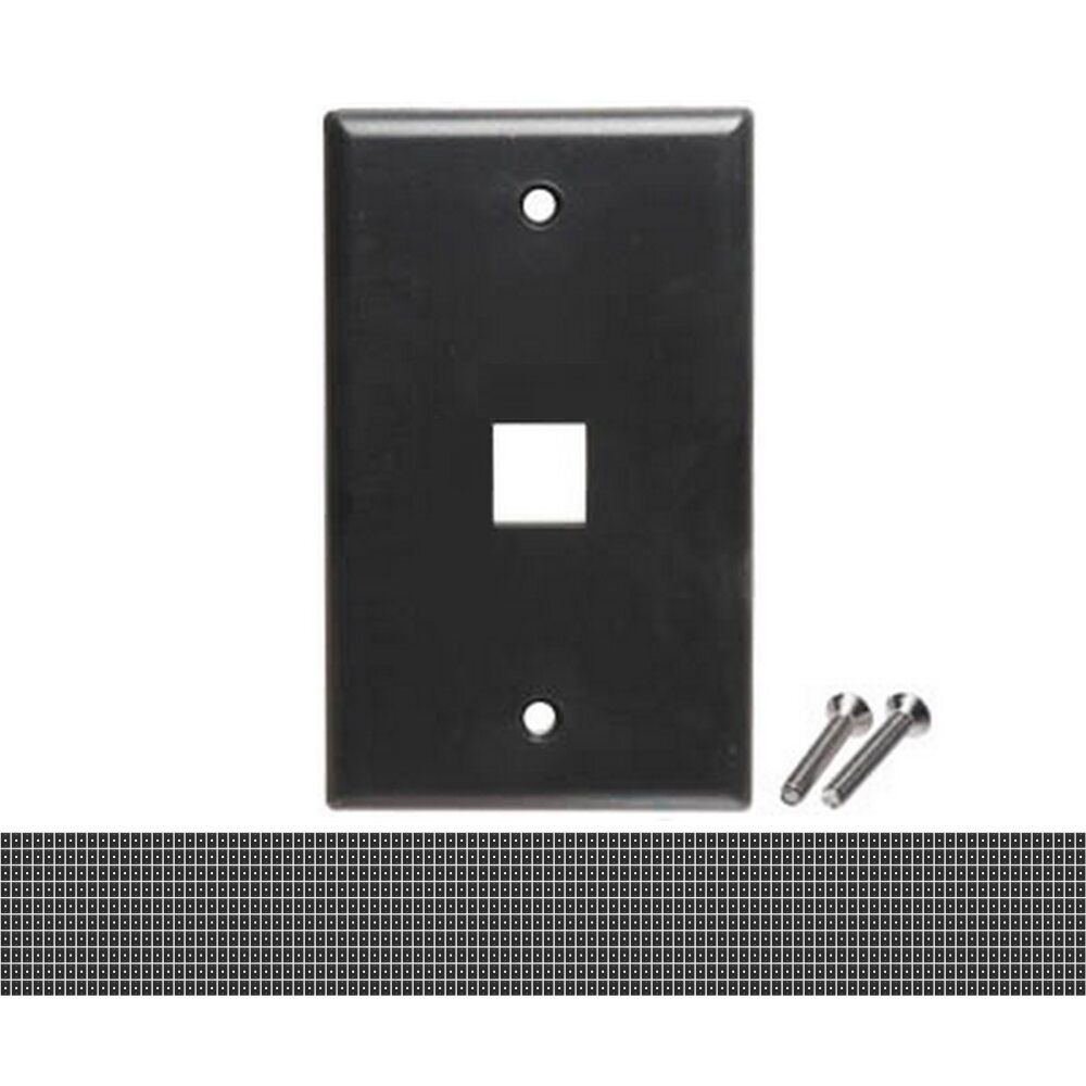 Lot1000 Keystone flush Wall face Plate 1/One/Single mount Hole/Jack/Cavity{BLACK