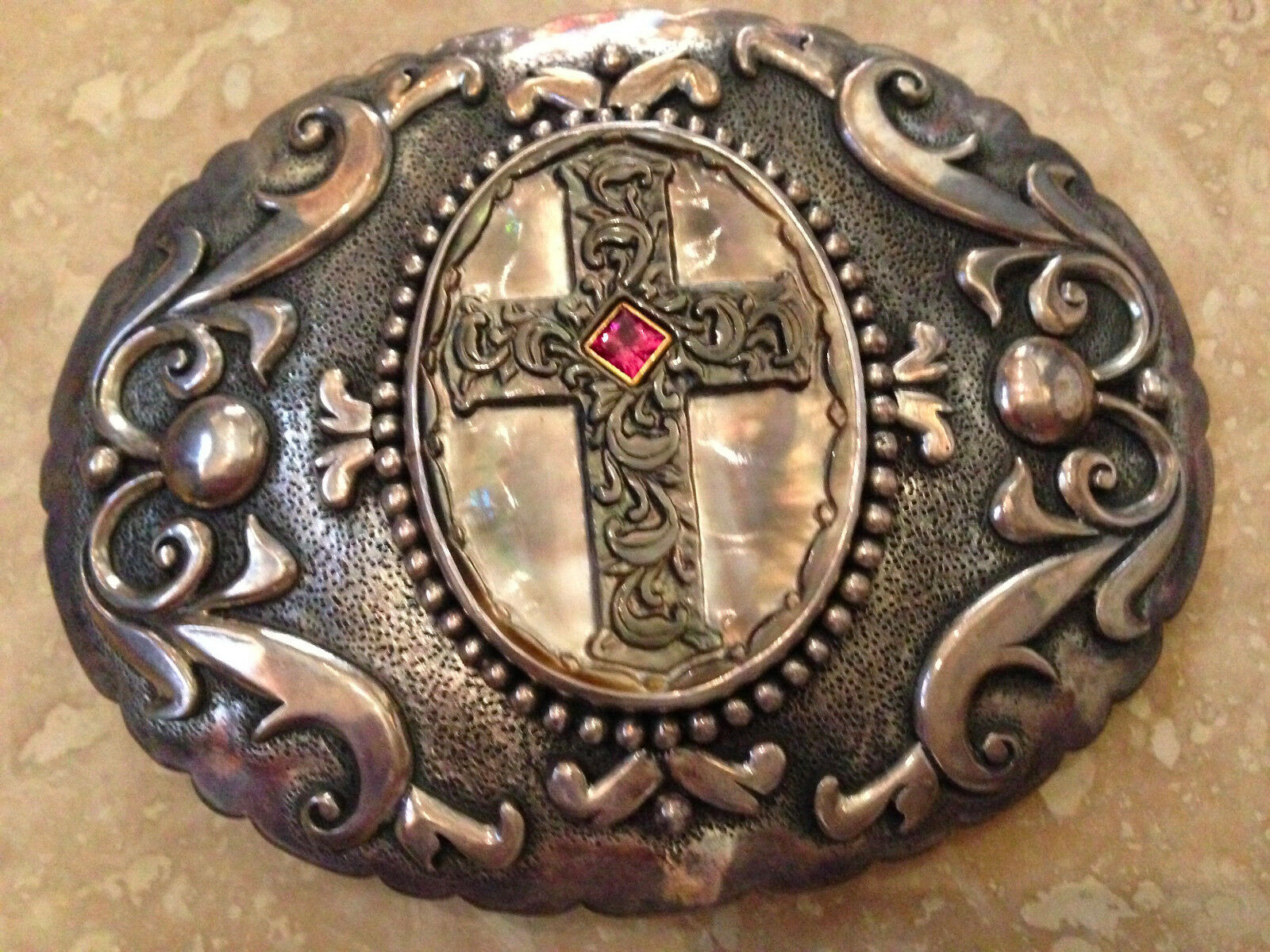 UNISEX 1 OF A KIND STERLING BELT BUCKLE HANDCARVED CROSS BLACK MOP