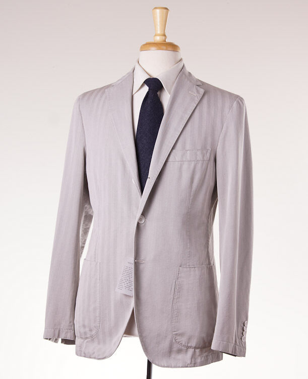 NWT $2695 BELVEST Stone Gray Herringbone Lightweight Cotton-Silk Suit 42 R