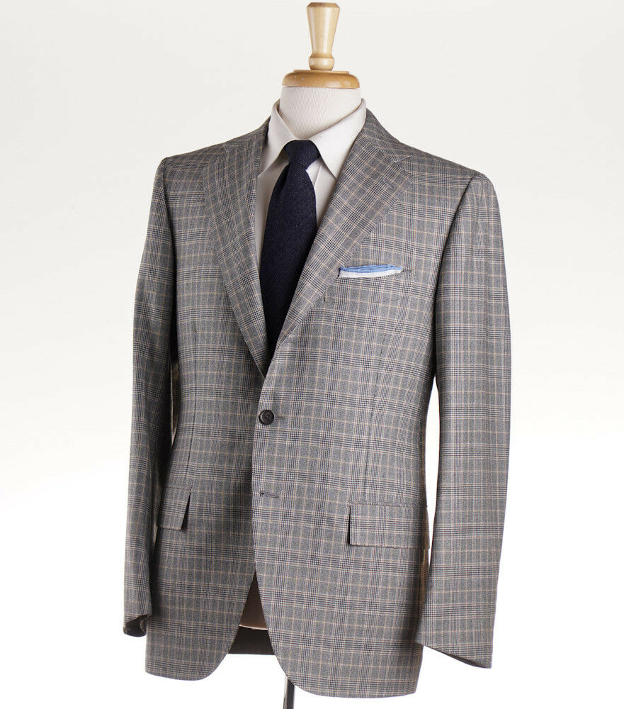 NWT $6400 CESARE ATTOLINI Gray and Camel Tan Check Wool Suit 40 R (Eu 50)
