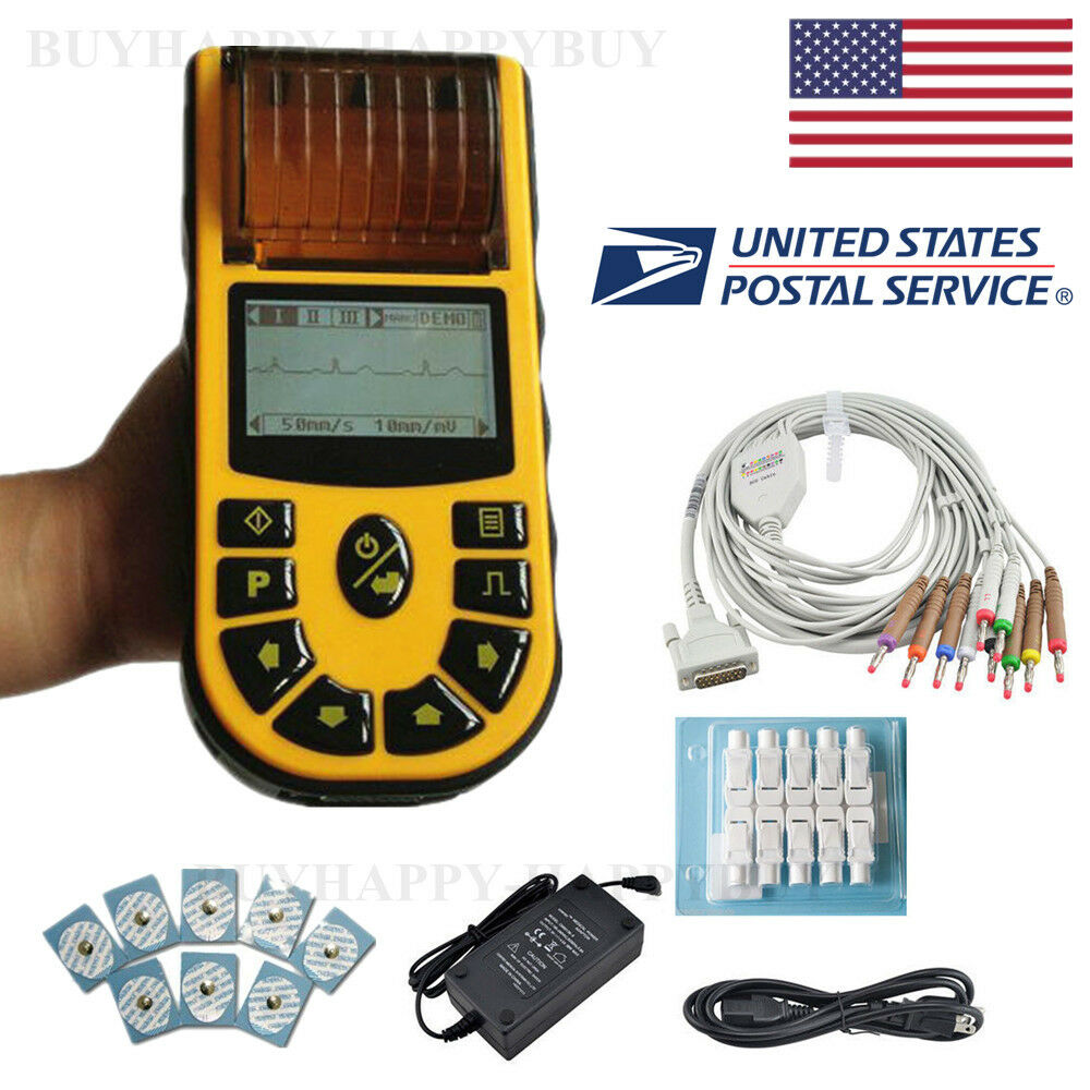 US Stock FDA Handheld ECG/EKG Digital 1 Channel 12-lead Software Printer ECG 80A