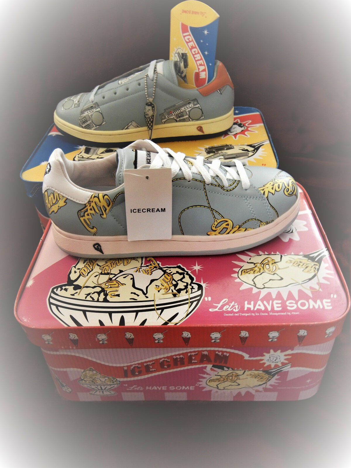 Reebok Ice Cream Boutiques Name Chain Petites Shoes SIZE 6 Pharrell BBC Bape