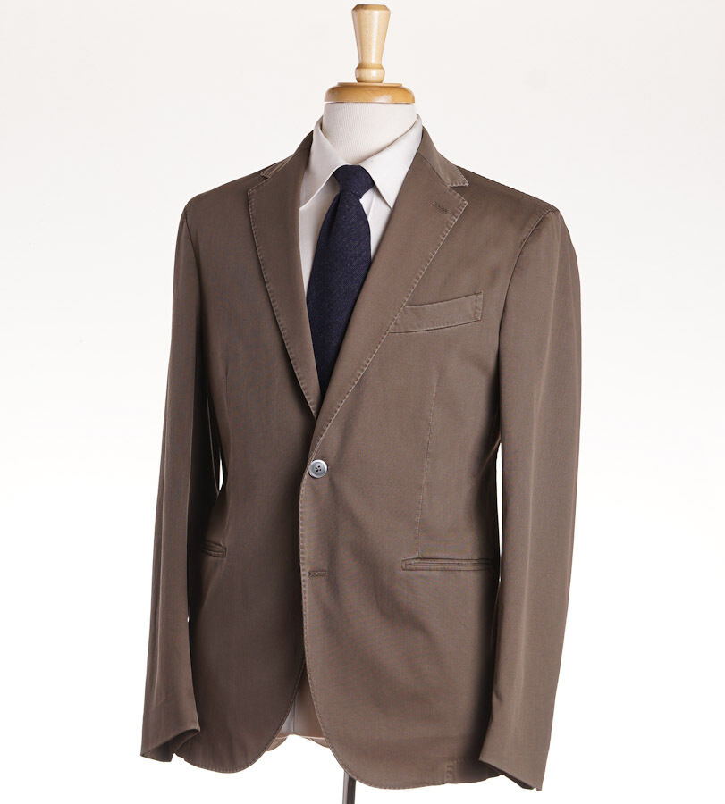 NWT $1530 BOGLIOLI Khaki Olive Stretch Twill Cotton Suit 44 R (Eu 54) Two Button