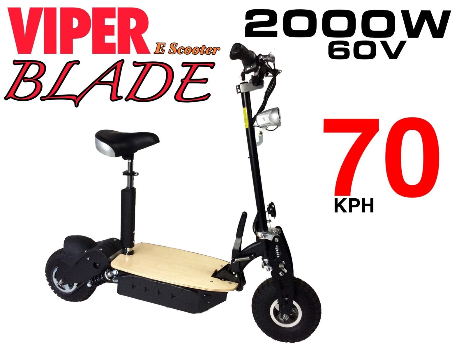 Electric Scooter 2000W 60V Viper Blade New 2017 Model, Terrain Tyres, 70KPH. CE.