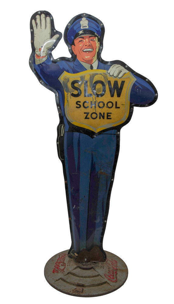 COCA-COLA POLICEMAN PAINTED SIGN Lot 77