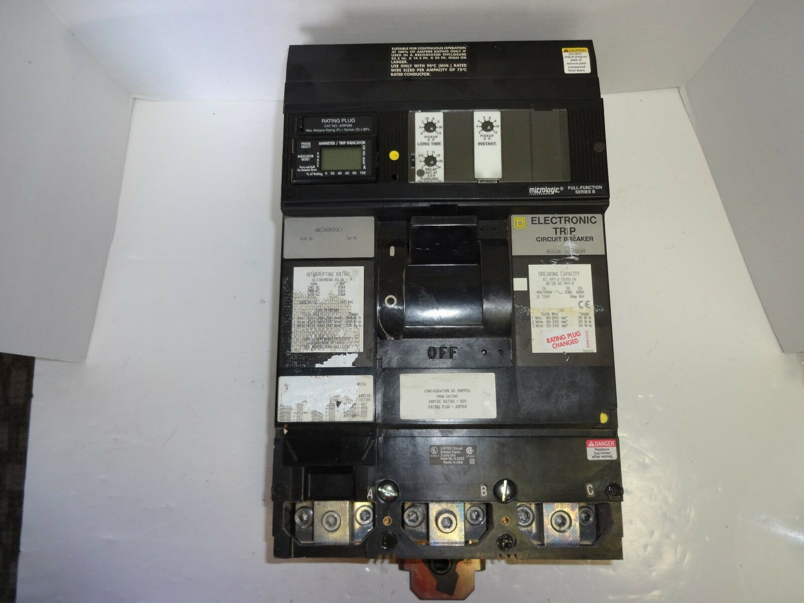 Square D ME36800LI  3 phase I-Line Circuit Breaker with ARP088 trip unit