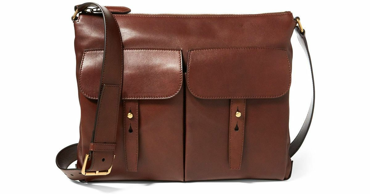 Ralph Lauren Purple Label Leather Pocket Messenger Bag New $1750