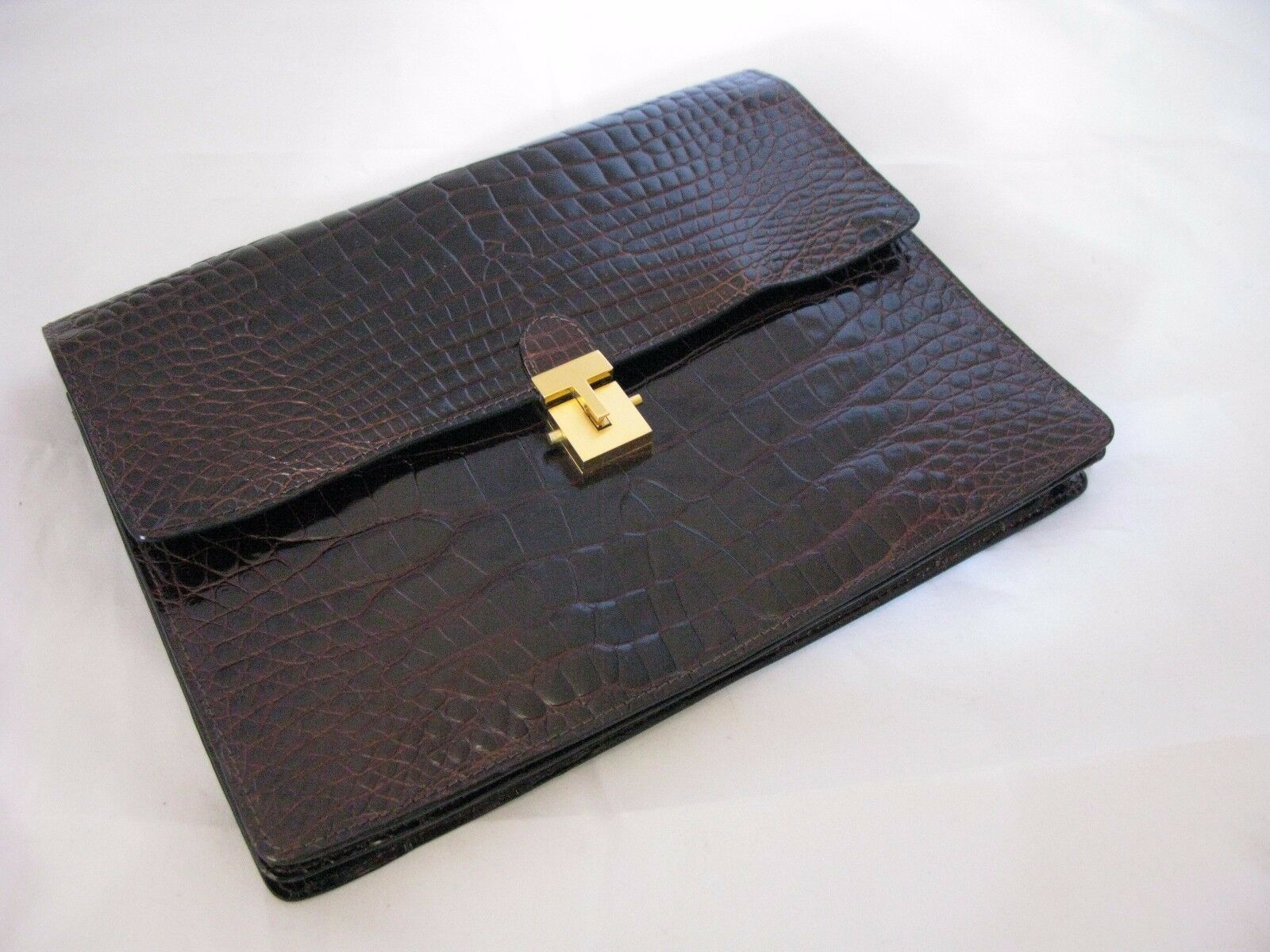 BIJAN Beverly Hills - Vintage 1980s Genuine Crocodile Clutch Handbag - Gorgeous!