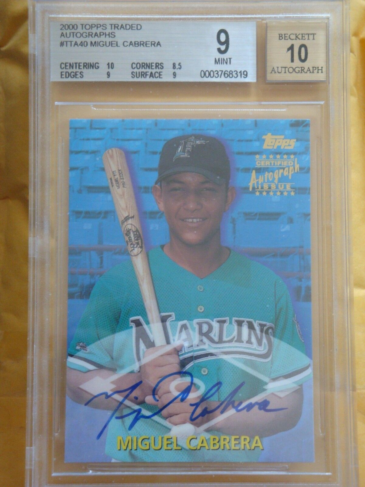 2000 Topps Traded #TTA40 Miguel Cabrera Rookie Auto BGS 9 Mint Auto 10 HOF