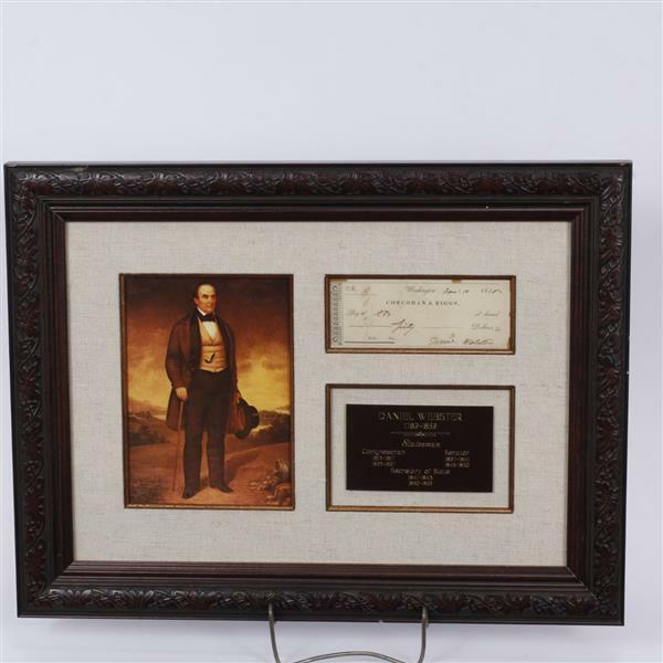 Signed check by Daniel Webster, includes portrait and plaque mounted... Lot 142B