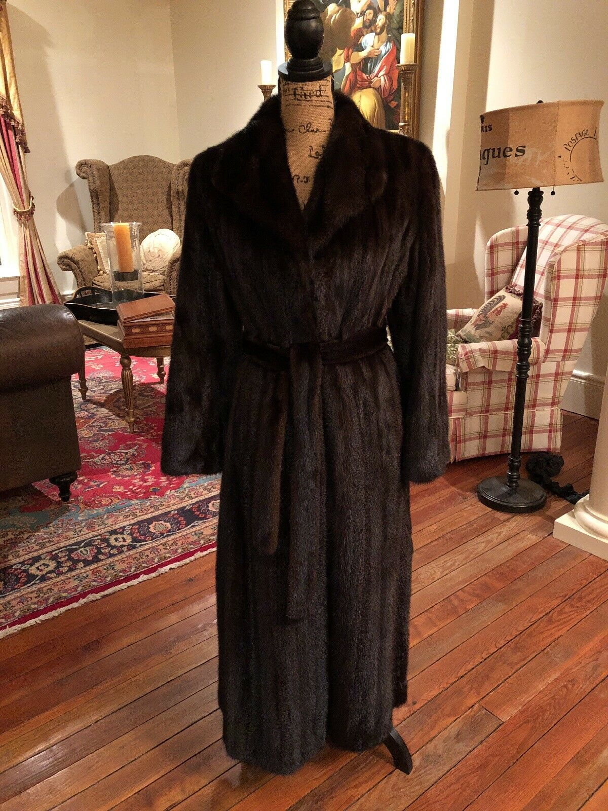 Stunning MINK Trench Belted Fur Coat New Style Excellent! Stored