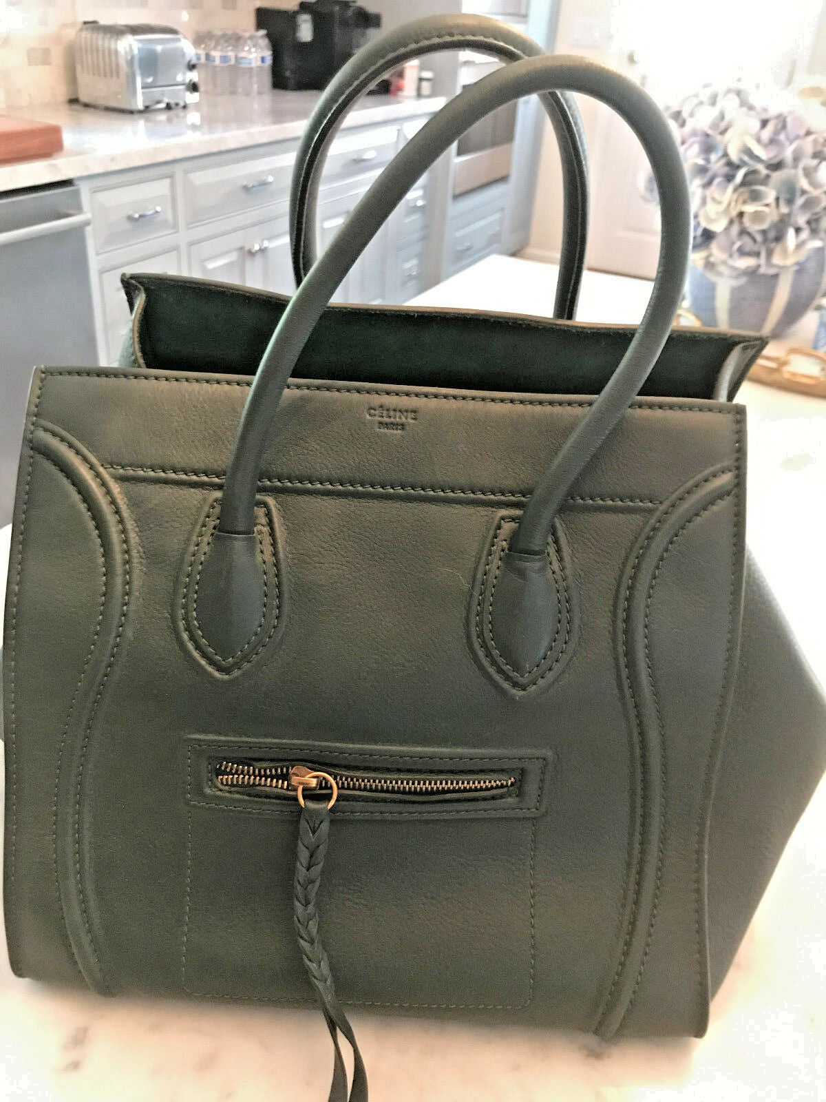 Authentic Celine Large Phantom Luggage Tote Handbag Forest GreenLeather