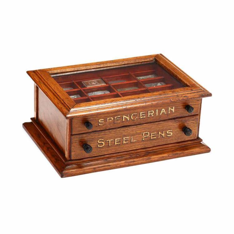 Match Safe Collection in a Spencerian Pen Display Case Lot 433