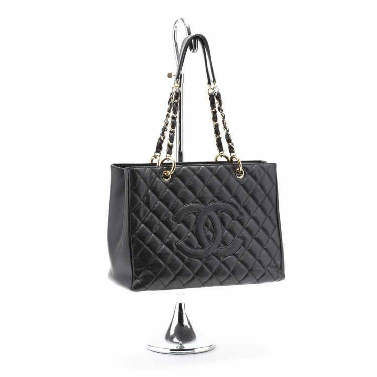 Quilted Black Caviar Leather Grand Shopping Tote Lot 76