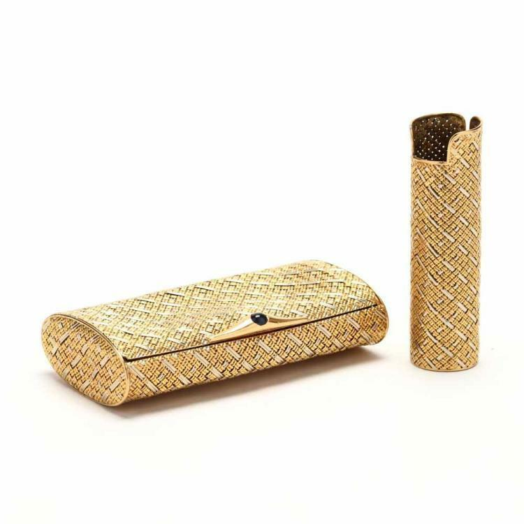 18KT Two Color Gold Cigarette and Lighter Case Lot 60