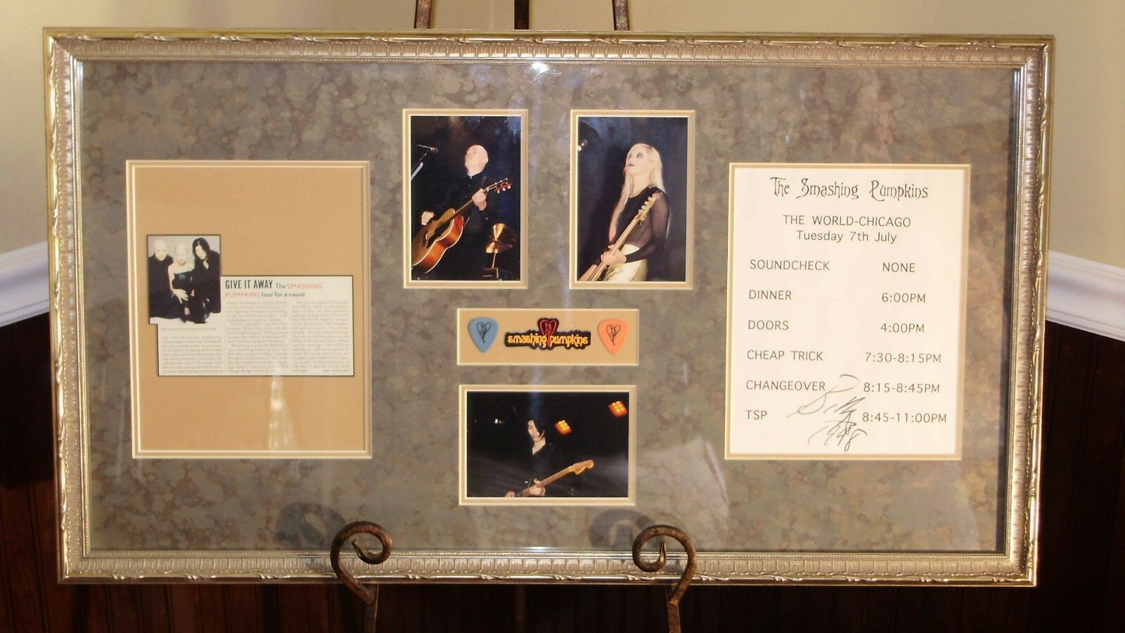 Smashing Pumpkins - Billy Corgan Autographed / Signed Tour Sheet w Guitar Picks!