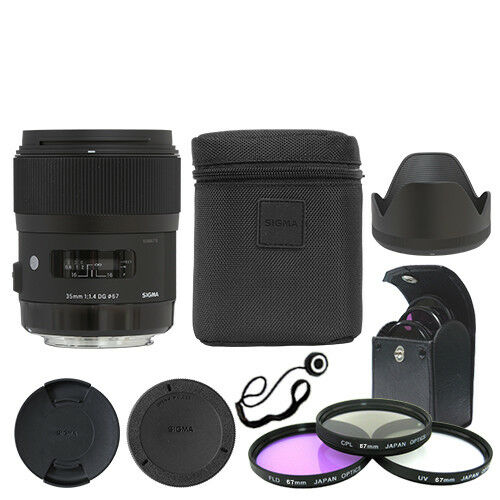 Sigma 35mm f/1.4 DG HSM Art Lens for Canon DSLR Cameras + Deluxe Accessory Kit
