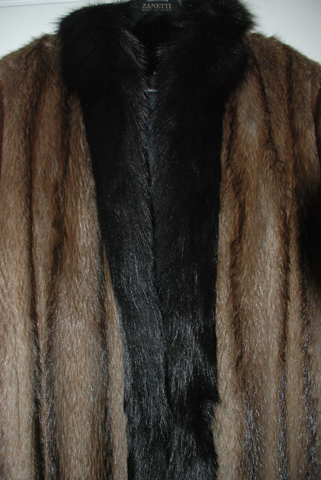 Womens Raccoon Fur Coat with Beaver Trim size Medium Full Length Made in Greece