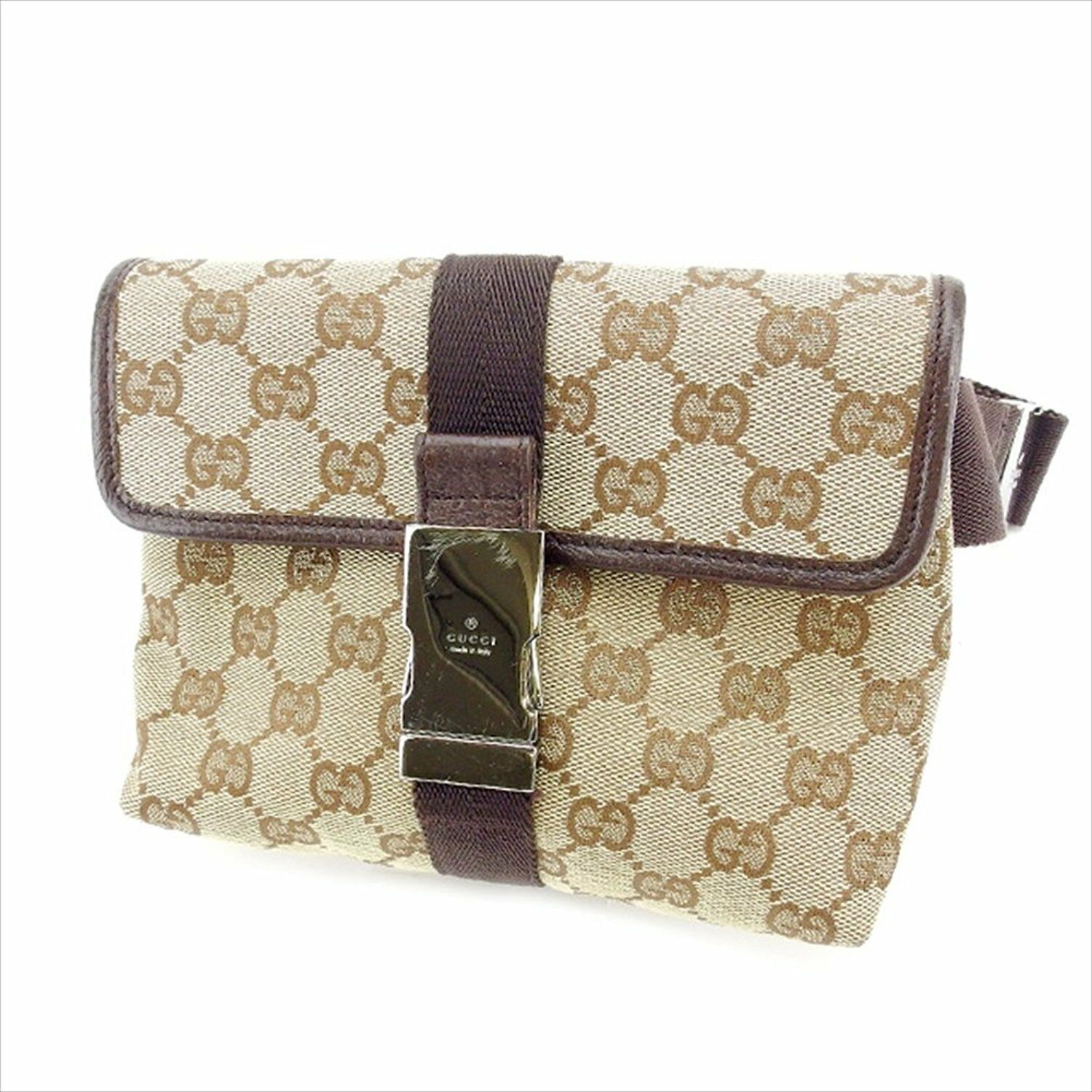 Auth GUCCI Waist Bag GG Canvas unisexused Y3203