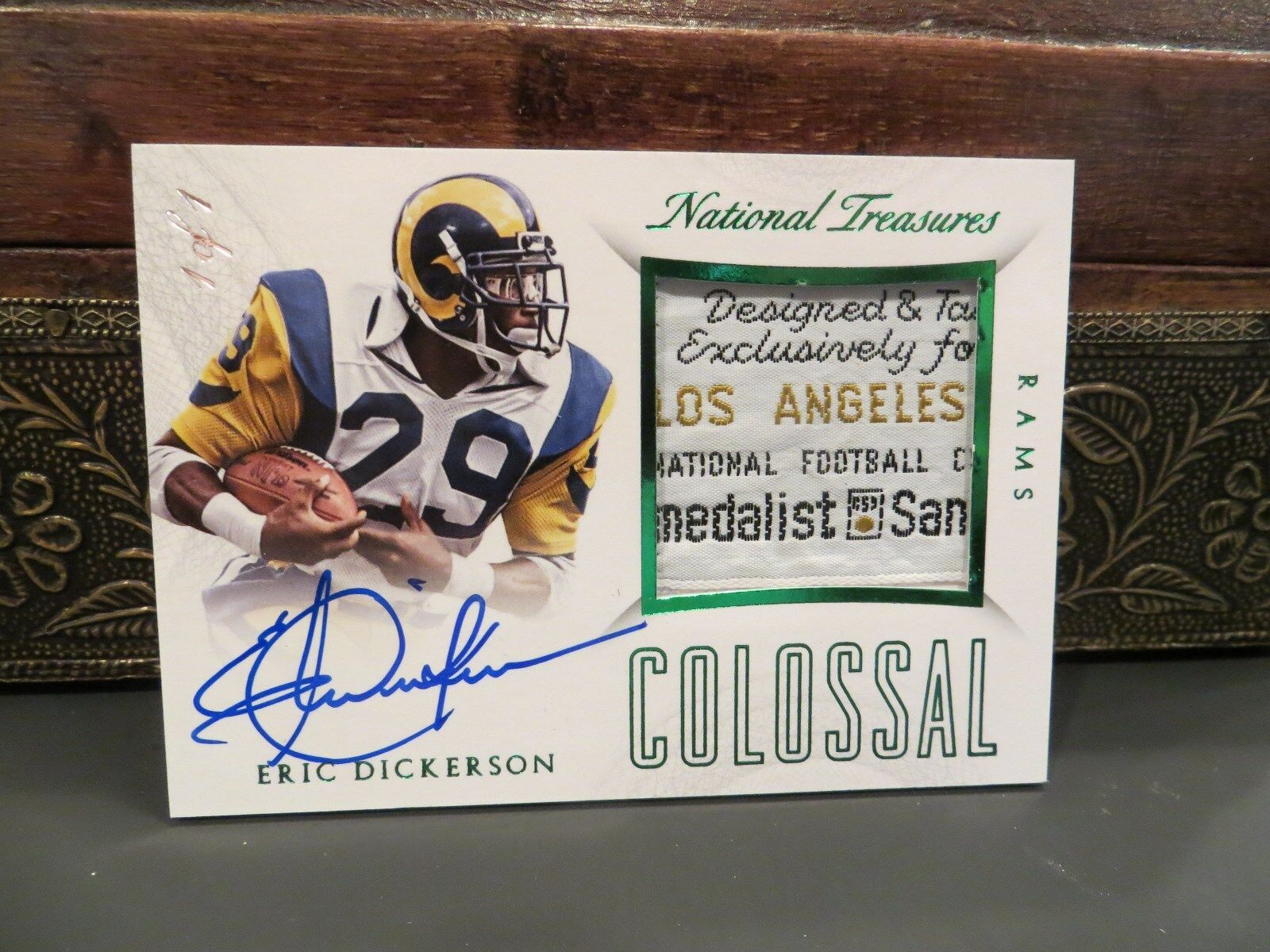 National Treasures Autograph Laundry Tag Jersey Rams Eric Dickerson 1/1   2015