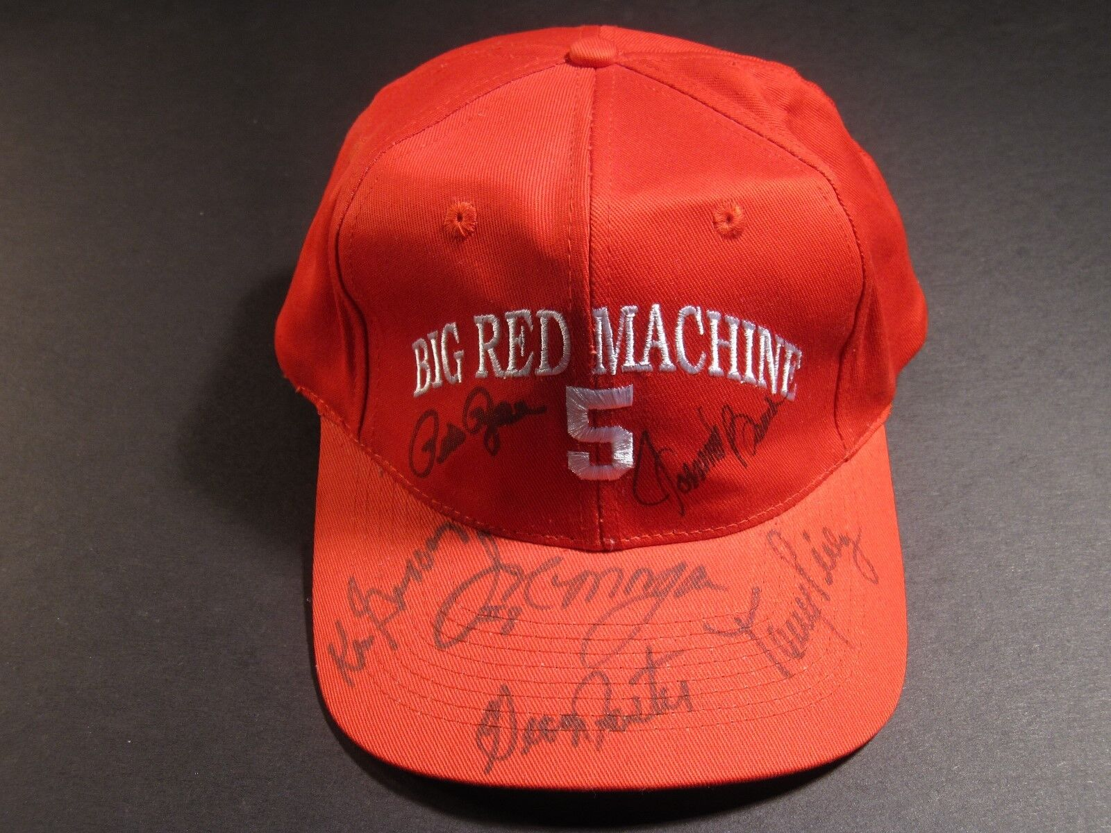 BIG RED MACHINE ROSE BENCH MORGAN PEREZ FOSTER GRIFFEY SIGNED AUTOGRAPH HAT PSA