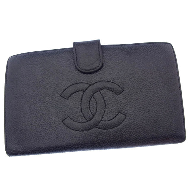 Auth CHANEL long Bill Compartment Coco mark unisexused Y2820