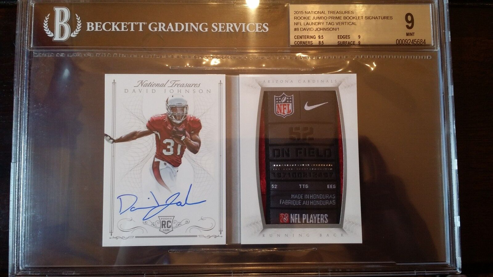 2015 1/1 DAVID JOHNSON AUTO NATIONAL TREASURES TAG/SHIELD/SWOOSH BGS 9/10 $2000+