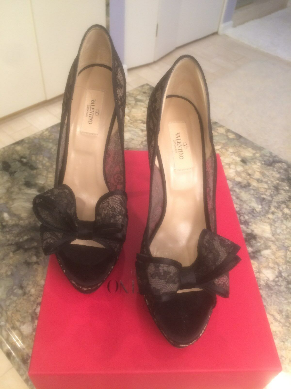 Auth. Valentino Couture Black Lace Open Toe Bow Platform Shoes $885 SZ 10B 40