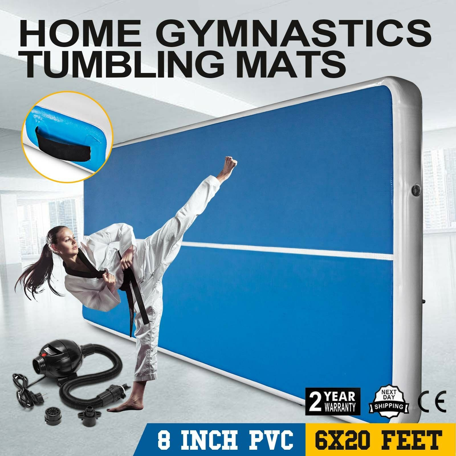 20x6Ft Inflatable Air Track Floor Home Gymnastics Tumbling Mat Sport Pad w/ Pump