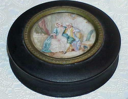 Antique French Portrait Dresser Snuff Box Black Lacquer Hand Painted 1800's