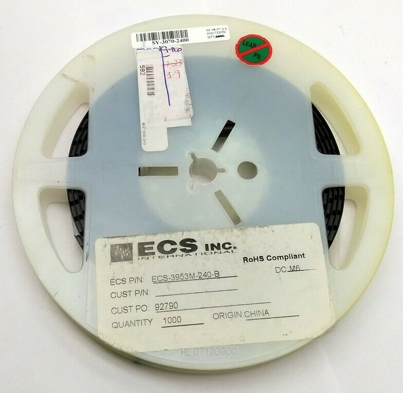 Lot of 500 New ECS ECS-3953M-240 Standard Clock Oscillators, 3.3V 24MHz 50PPM