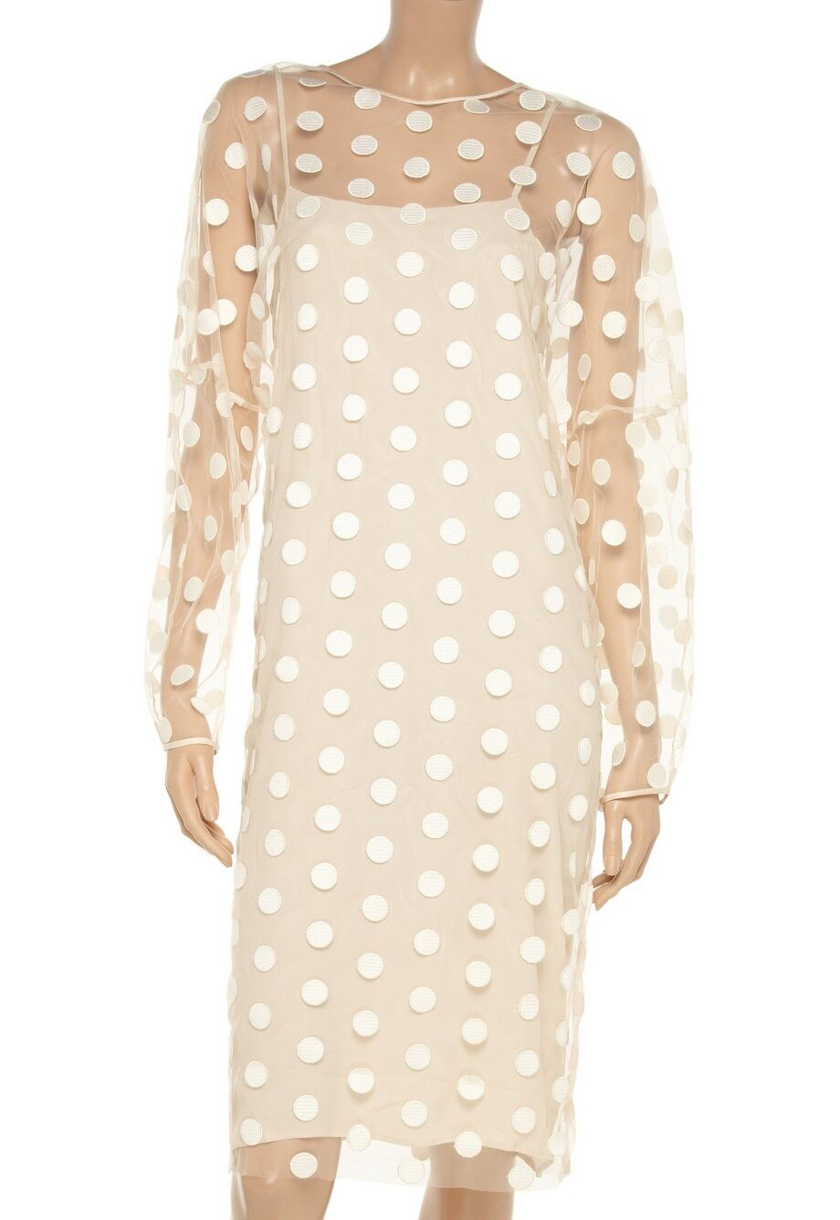 Stella McCartney Runway Ivory Polka Dot Embroidered Tulle Dress