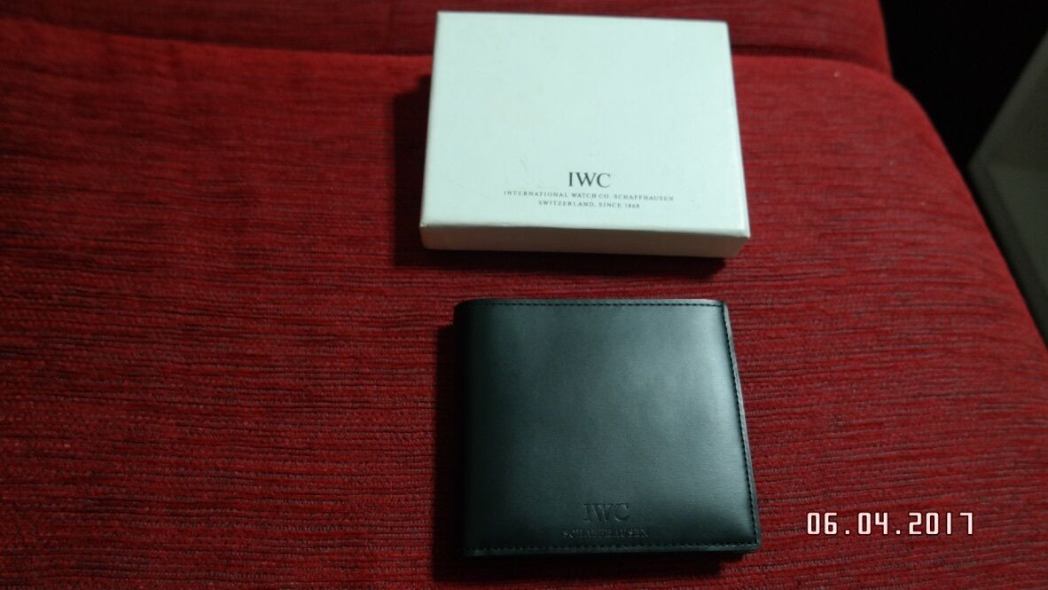NEW RARE IWC WATCH BY DUNHILL BLACK CALF LEATHER WALLET GELDBÖRSE MADE IN FRANCE