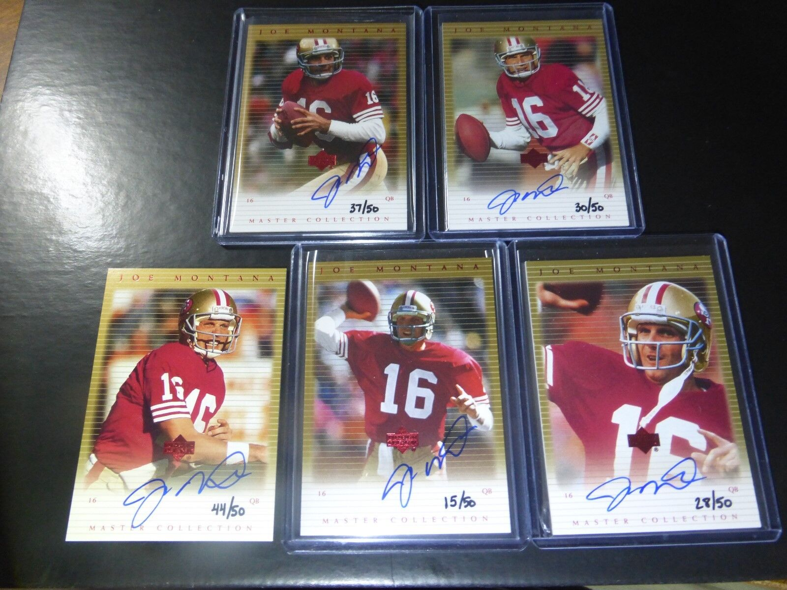 (5) LOT~2000 UD UPPER DECK JOE MONTANA AUTO SIGNED MASTER COLLECTION SET #D/50