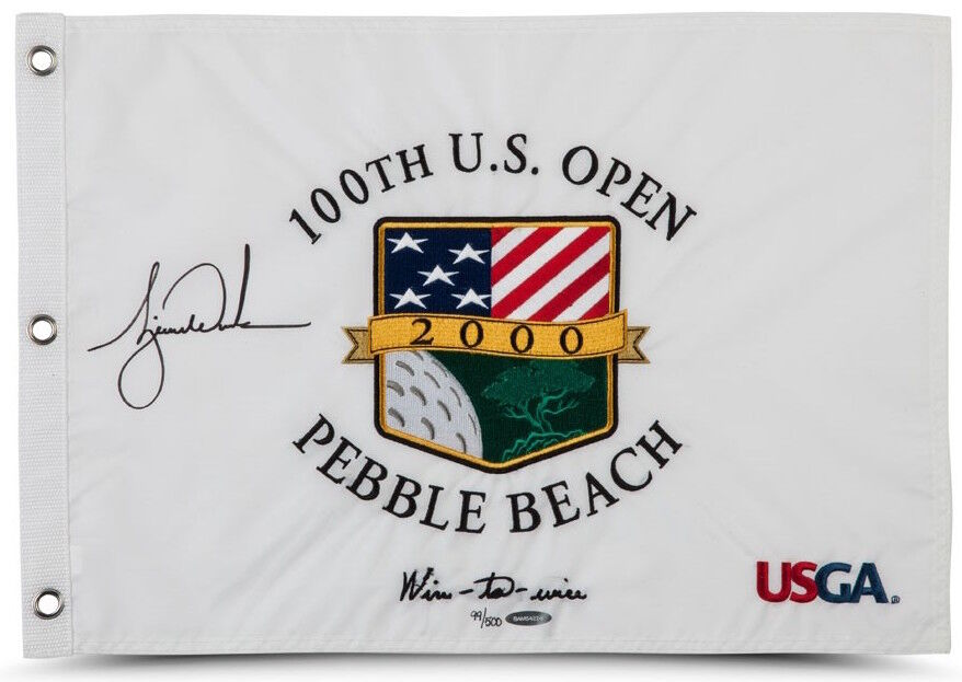 TIGER WOODS Autographed 2000 US Open Inscribed Flag UDA LE 500