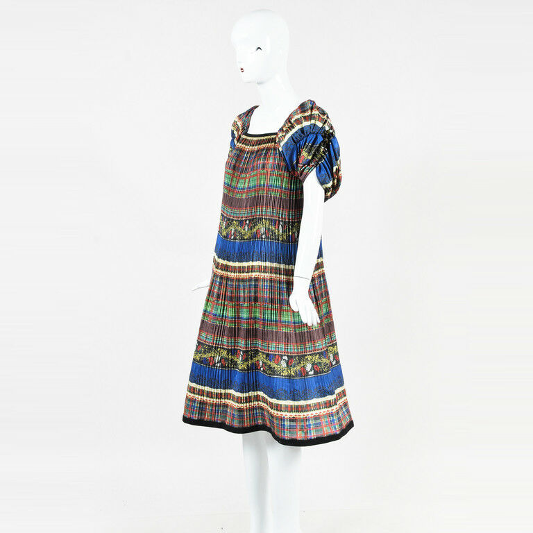Tricot Comme des Garcons Multicolor Printed Puff Sleeve Pleated Dress SZ M