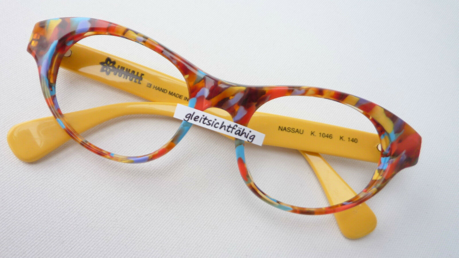 cateyebrille Frame Acetate Horn Optics Multicolour Brand Wide Straps Yellow