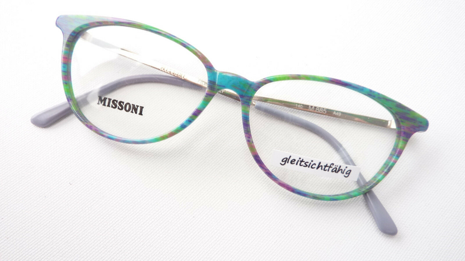 Missoni Designer Frames Glasses Ladies Butterfly Purple Green Turquoise Occhiali