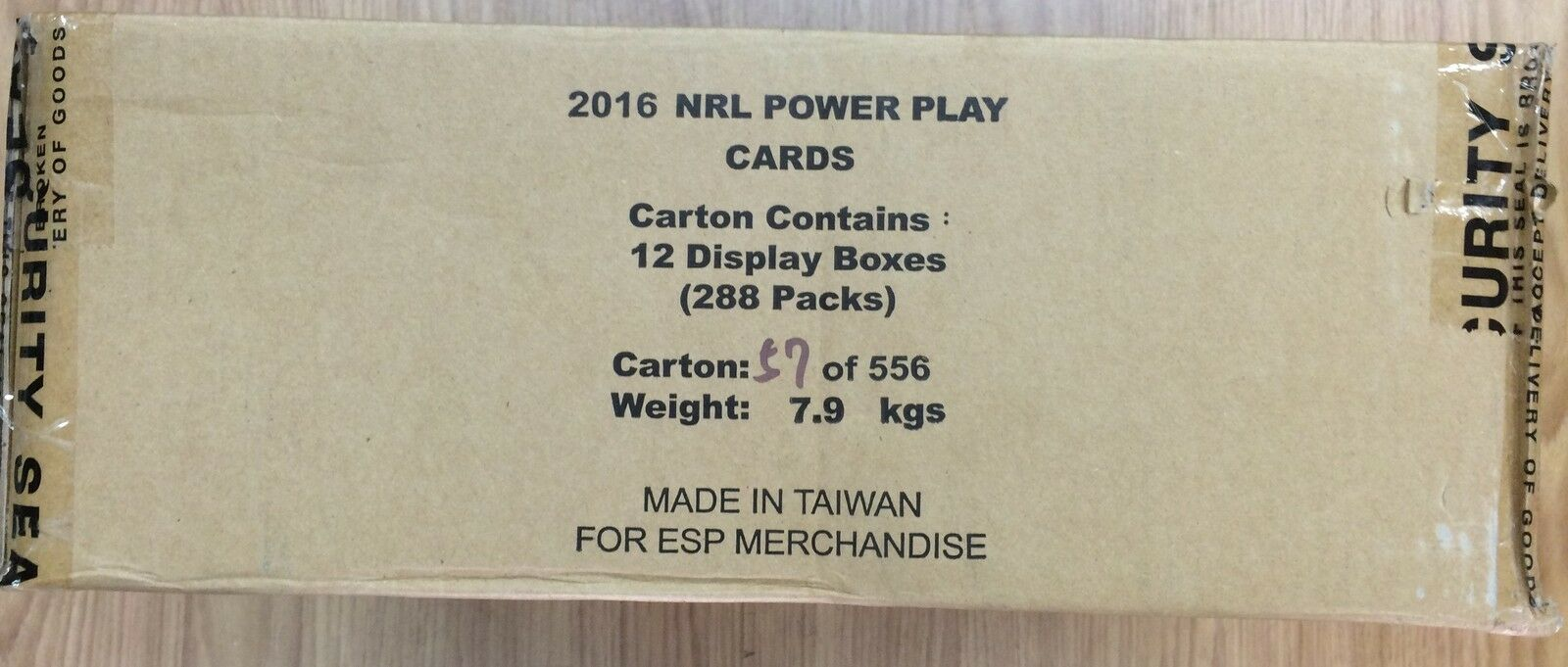 2016 ESP NRL POWER PLAY EXTREME TRADING CARD FACTORY CASE (24 PKS x 12 BOXES)