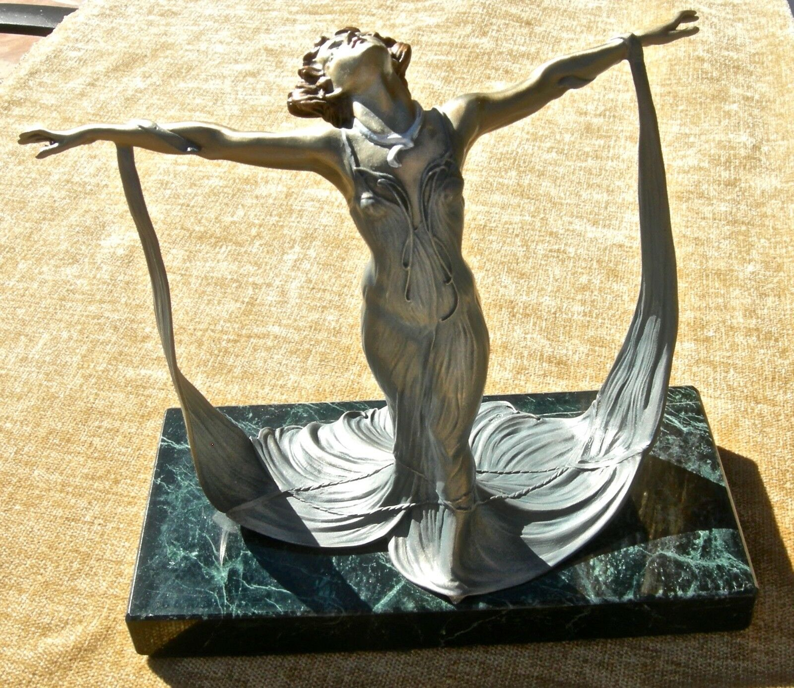 1987 CHILMARK STUDIO GISELLE LES BELLES DE PARIS AMY KANN PEWTER ART NOUV STATUE