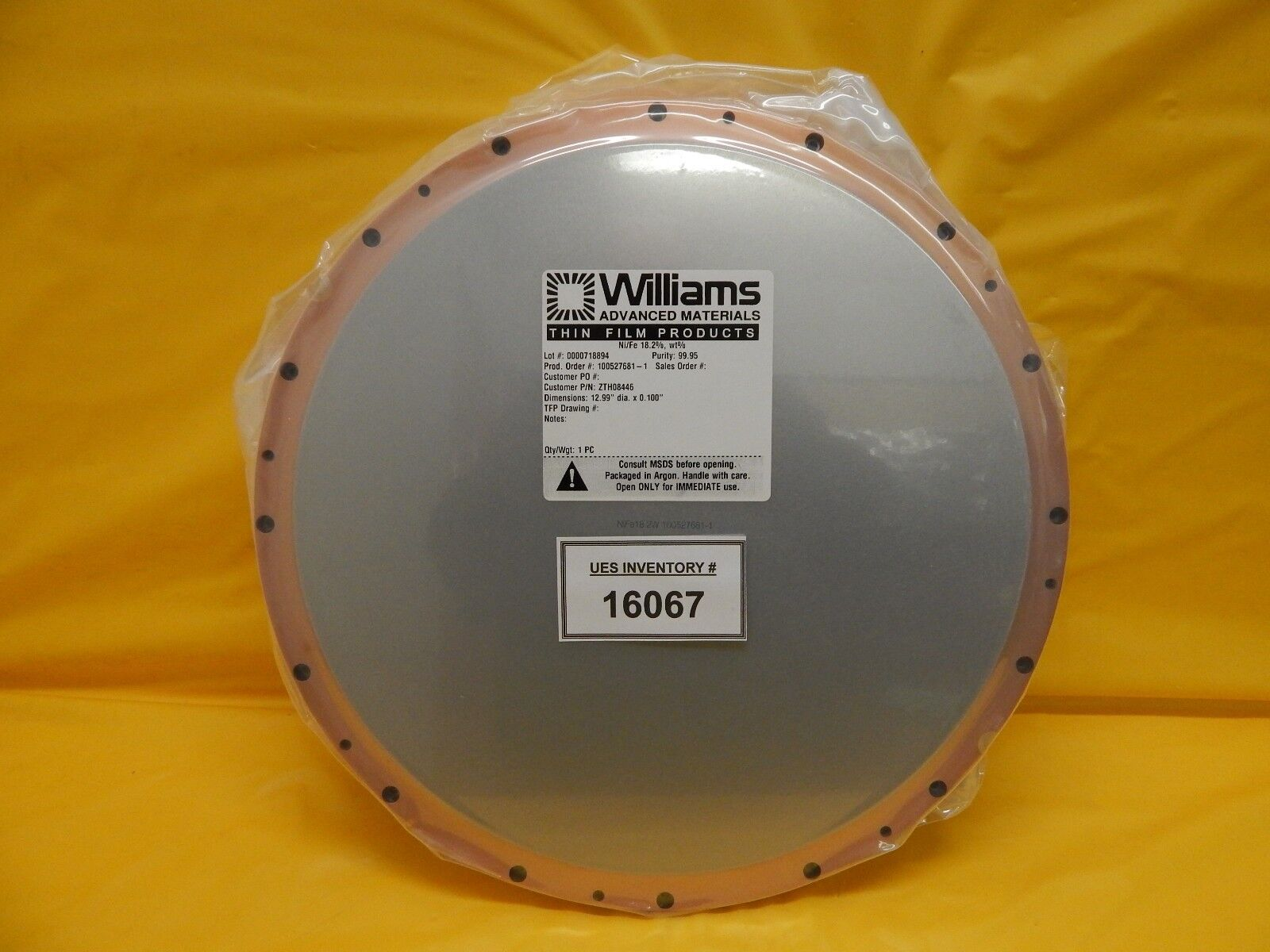 Williams Advanced Materials ZTH08446 Ni/Fe 18.2% wt% Target New Surplus